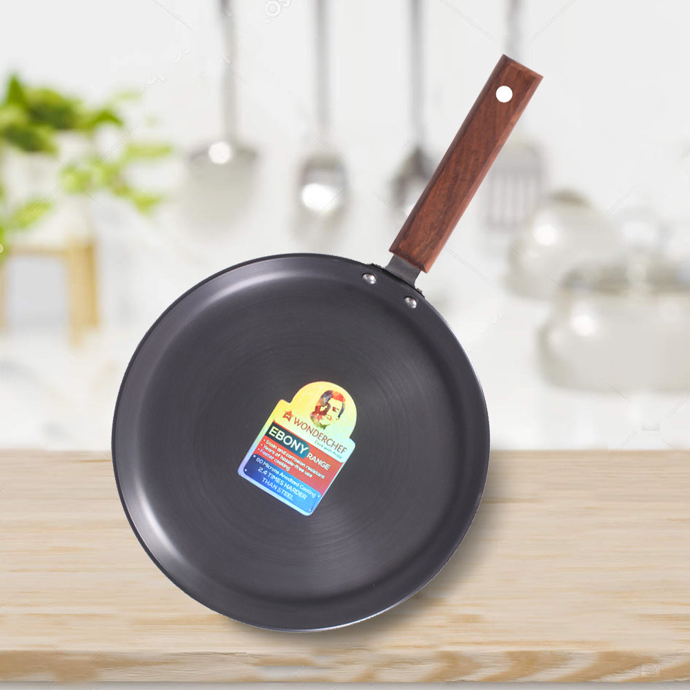 Ebony Hard Anodized Aluminium Dosa Tawa - 26.5cm, 4.88mm, Black