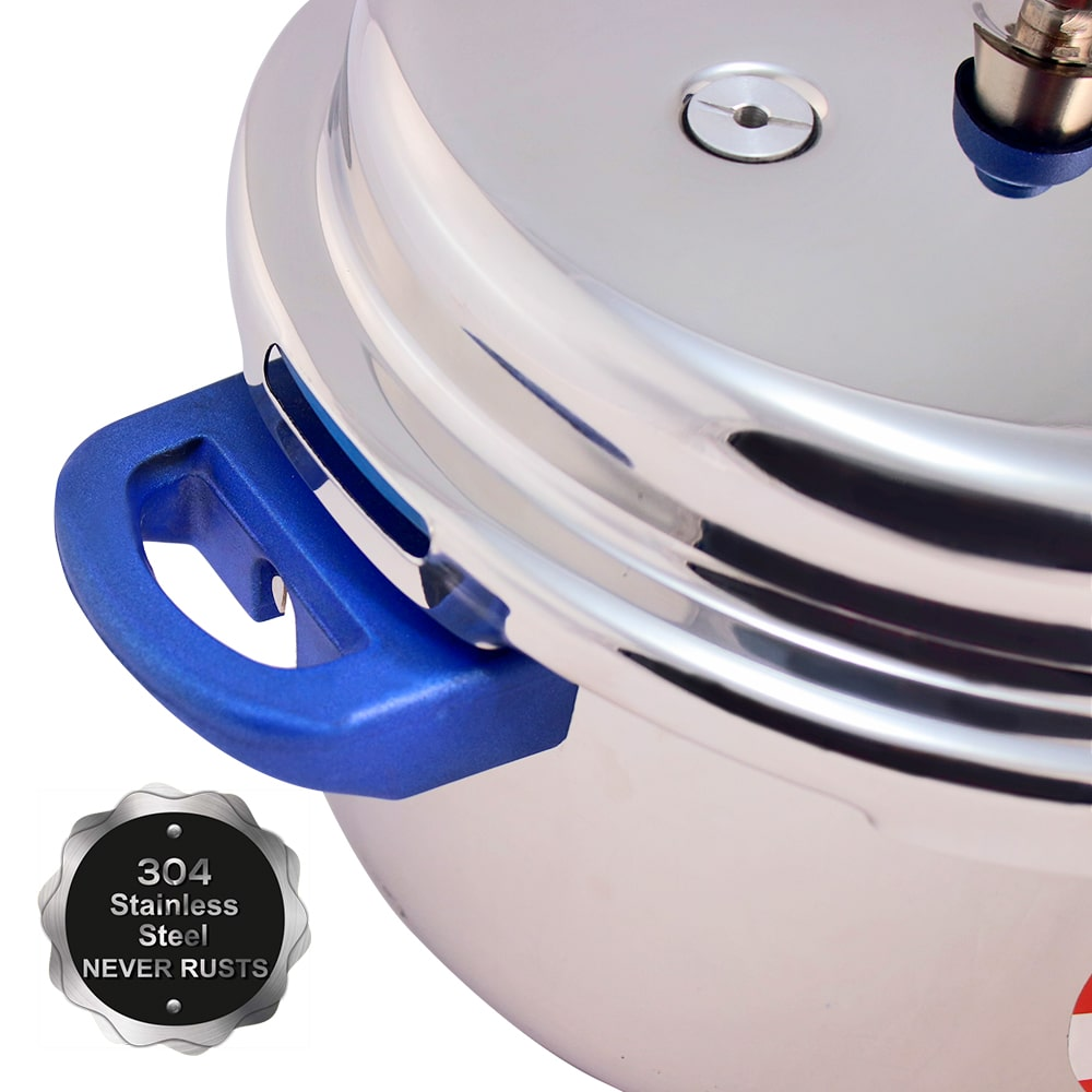 Nigella Induction Base Stainless Steel Pressure Cooker with Outer Lid Blue