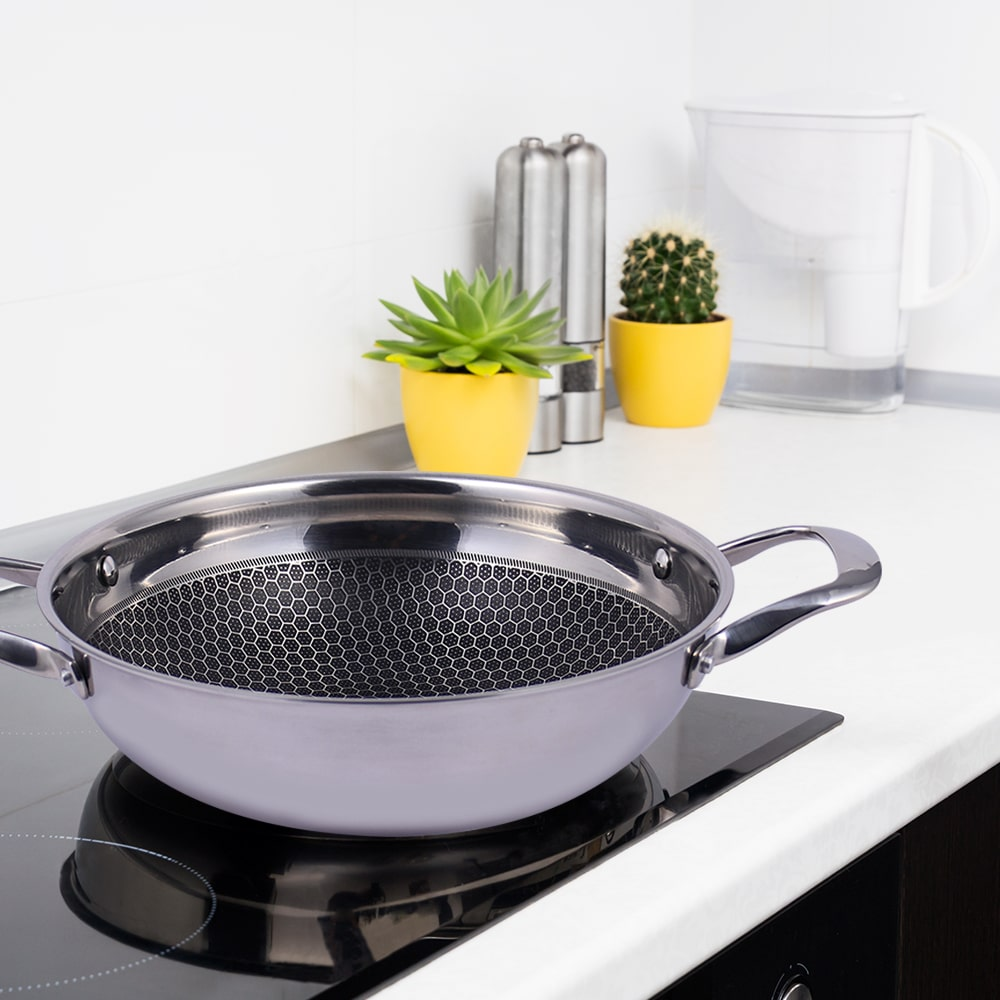 Stanton Stainless Steel Nonstick Kadhai With Lid- 28cm, 3.4L, 2.5mm