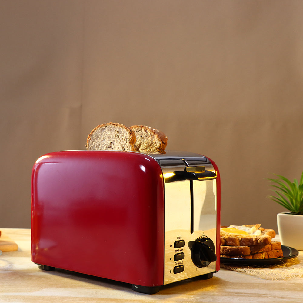 Wonderchef Pop Up 2 Slice Toaster Crimson Edge, 5 Browning Controls, Removable Crumb Tray, 2 Years Warranty, 850W, Red