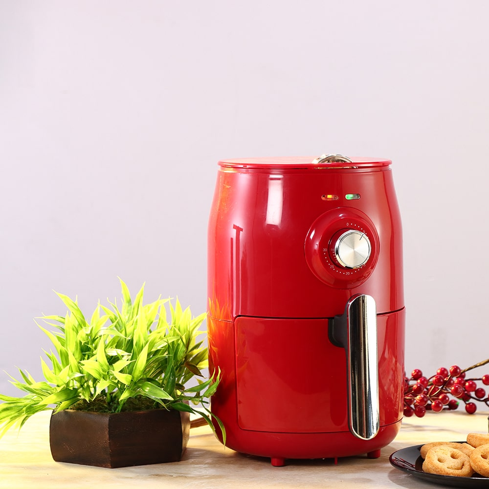 Air Fryer Crimson Edge, 1.8 Litres, Compact, with Auto-shut Off, Non-stick Frying Basket, Timer and Temperature Control Function, 2 Years Warranty, 1000W, Red