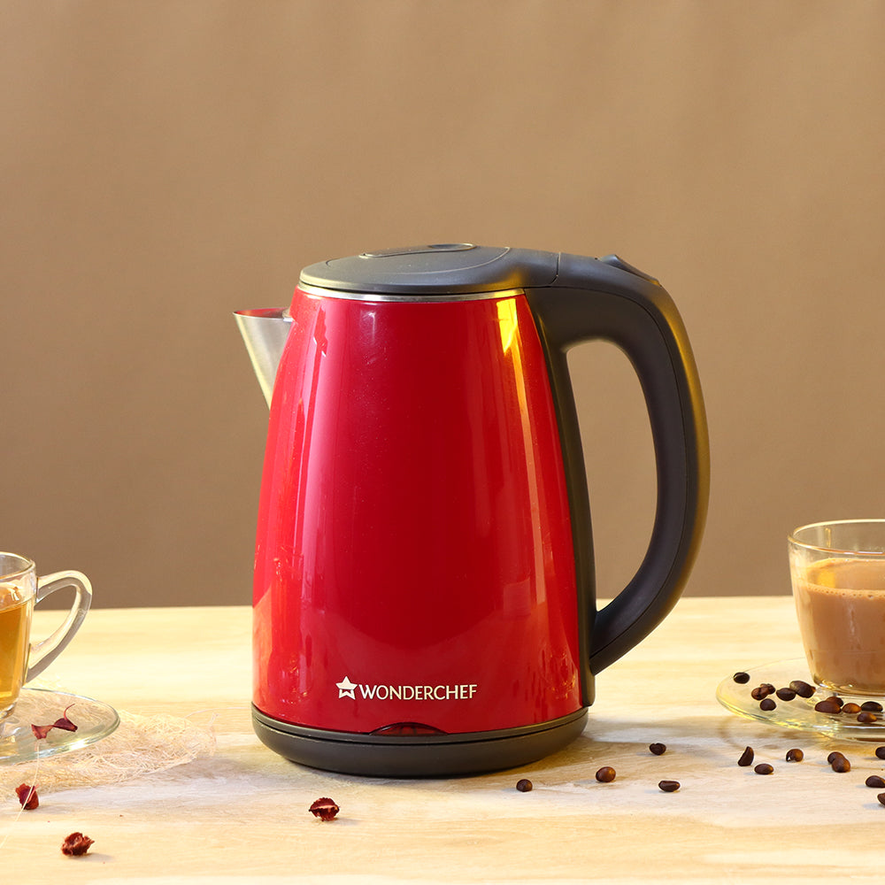 Wonderchef Electric Kettle Crimson Edge, Stainless Steel, with Auto-shut Off, 2-level Safety, Cool-touch,1.5 Litres, 2 Years Warranty, 1500W, Red