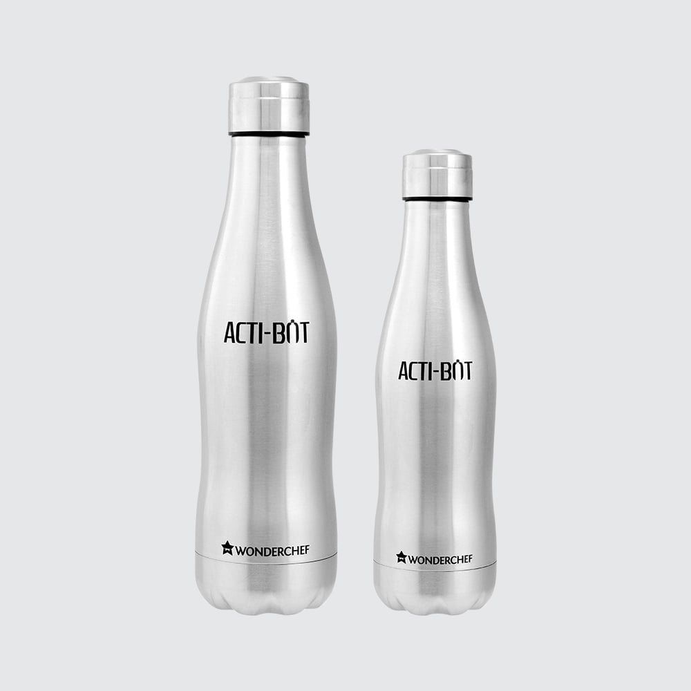 Acti-Bot Stainless Steel Single Wall Water Bottle, 650ml