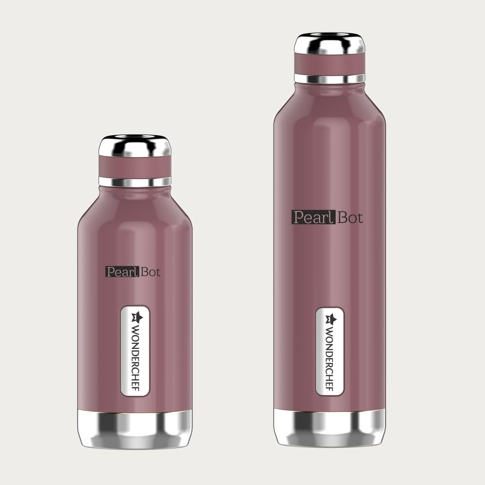 Pearl-Bot Stainless Steel Single Wall Water Bottle, Rose Pearl, 500ml