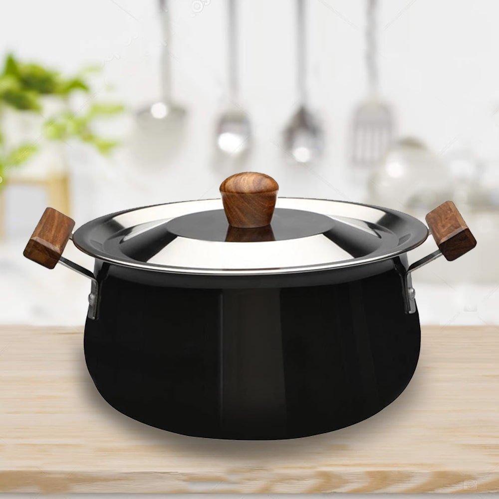 Wonderchef Ebony Hard Anodized Handi With Lid