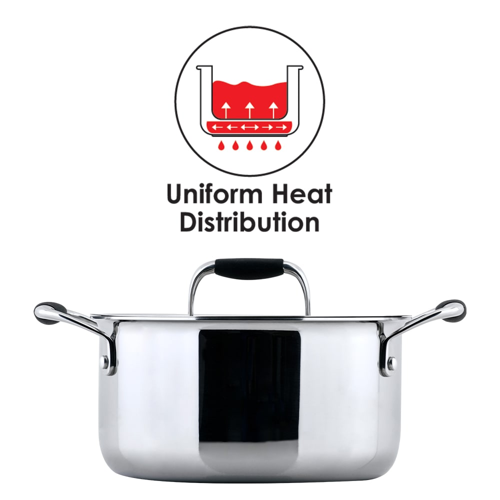 Stanton Stainless Steel Casserole With Lid, Handle with Silicone Sleeve, Induction Friendly- 20cm, 2.5mm, 3L, 25 Years Warranty