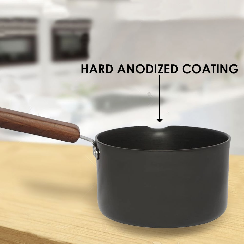 Ebony Hard Anodized Nonstick Sauce Pan 16cm, 2L, 3.25 mm, Black and Brown