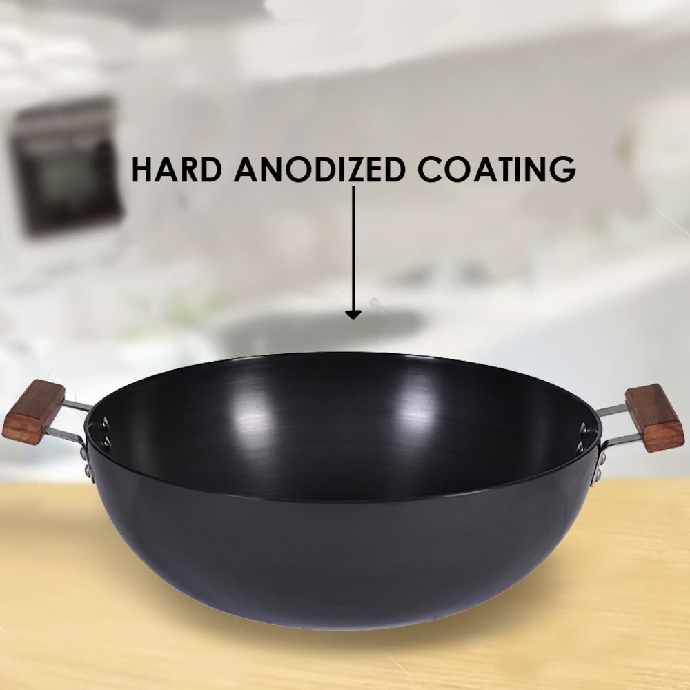 Ebony Hard Anodized Aluminium Wok with Lid- 28cm, 2.7L, 4.5mm, Black