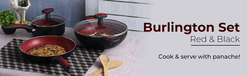 Wonderchef Burlington Set - Red And Black