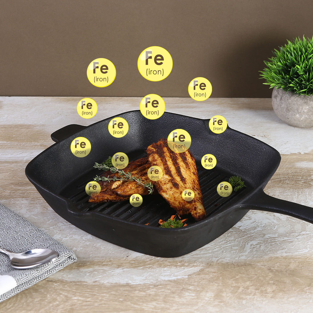Forza Cast-iron Grill Pan, Pre-Seasoned Cookware, Induction Friendly, 26cm, 3.8mm