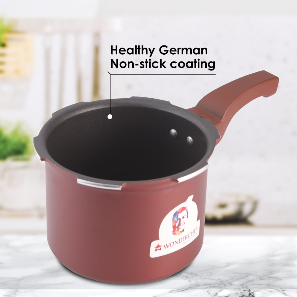 Wonderchef HealthGuard Induction Base Aluminium Nonstick Pressure Cooker with Outer Lid, 5L, Maroon