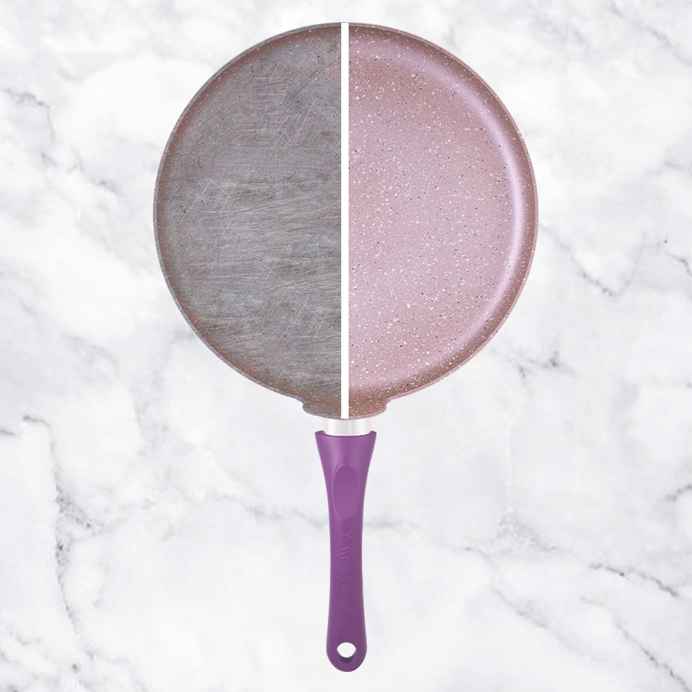 Wonderchef Royal Velvet Aluminium Nonstick Dosa Tawa with Raised Lip, 3.5mm, Purple