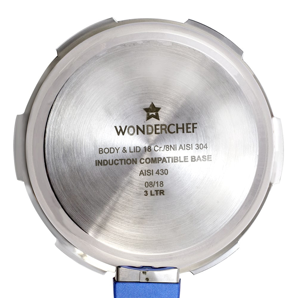 Wonderchef Nigella Induction Base Stainless Steel Pressure Cooker with Outer Lid Blue