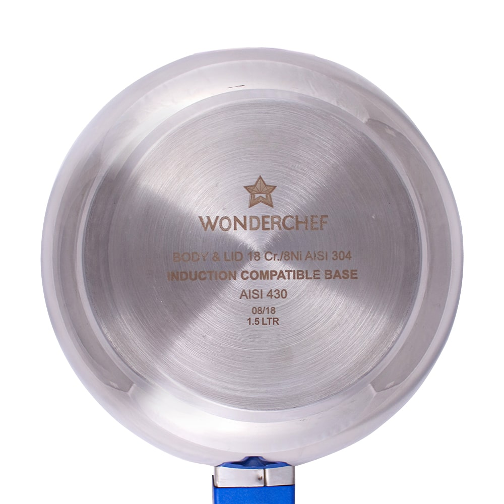Wonderchef Nigella Induction Base Stainless Steel Handi Pressure Cooker with Outer Lid, Blue Handles
