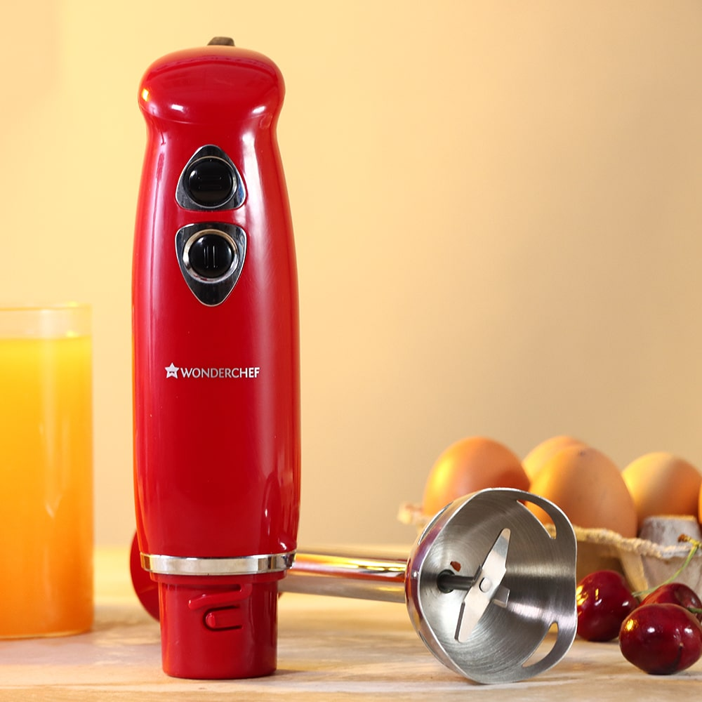 Hand Blender Crimson Edge, Thin Body, Low Noise Operation, Sharp Stainless Steel Blades, Detachable Shaft, 2 Years Warranty, 400W, Red