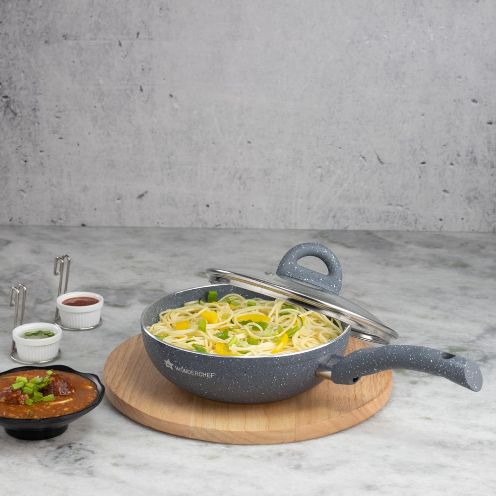 Wonderchef Granite Wok With Lid