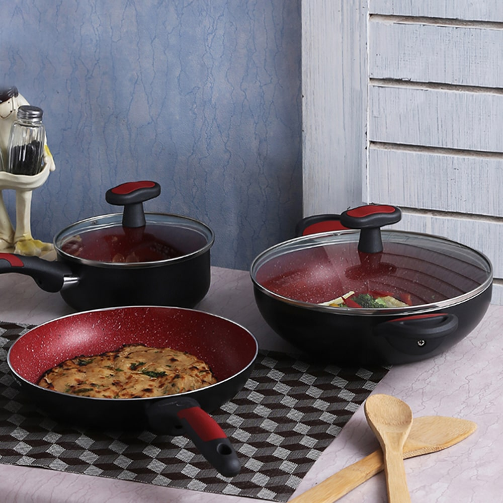 Burlington Aluminium Nonstick Cookware Set, 5Pc, Red And Black