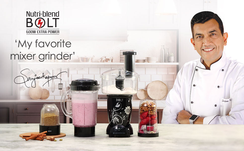 Nutri-blend BOLT-600W Mixer With Compact Food Processor & Atta Kneader, Stronger & Swifter With Sipper Lid, 22000RPM, 4 Unbreakable Jars, Sharper Steel Blades, 2 Yrs Warranty, Black, E-Recipe Book By Chef Sanjeev Kapoor