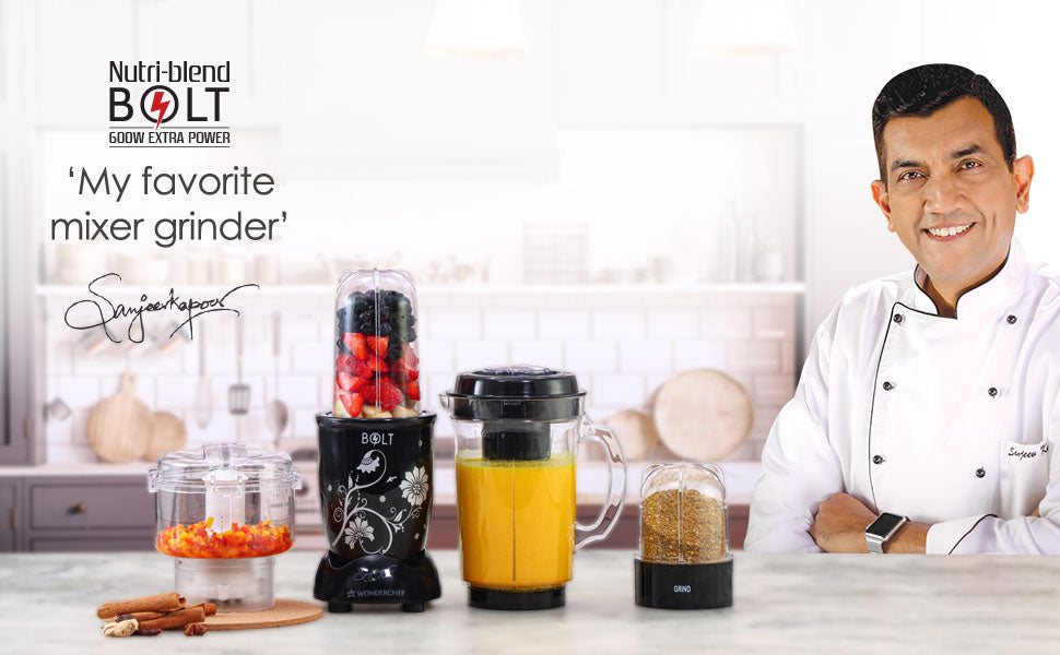 Nutri-blend BOLT-600W CKM Mixer with Chopper, Stronger & Swifter with Sipper Lid, 22000RPM, 4 Unbreakable Jars, Sharper Steel Blades, 2 Years Warranty, Black, E-Recipe Book By Chef Sanjeev Kapoor