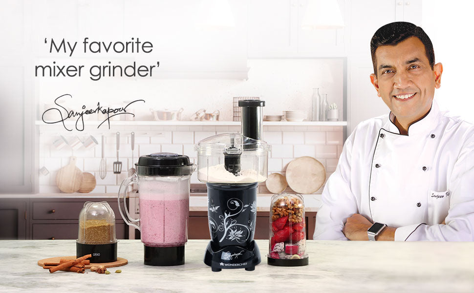 Nutri-blend Compact Food Processor with Atta Kneader, 400W, 22000 RPM Mixer-Grinder, Blender, Chopper, Juicer, SS Blades, 4 Unbreakable Jars, 2 Years Warranty, Black, E-Recipe Book By Chef Sanjeev Kapoor