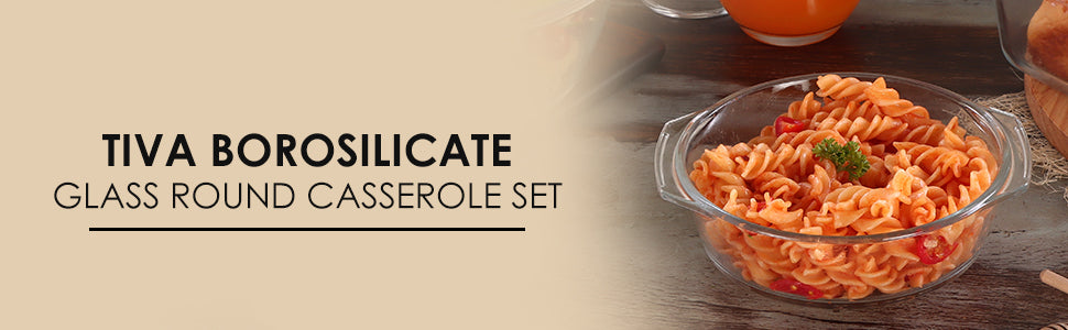 Tiva Borosilicate Glass Round Casserole Set 700ml By Wonderchef