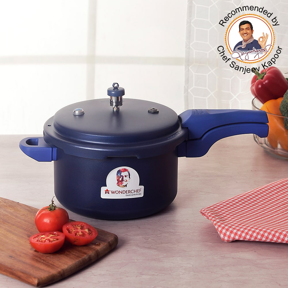 Wonderchef HealthGuard Induction Base Aluminium Nonstick Pressure Cooker with Outer Lid, 5L, Blue