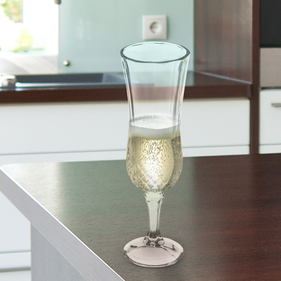 Diamond Goblet - Champagne Glass 180ml - Set Of 4 Pcs By Wonderchef