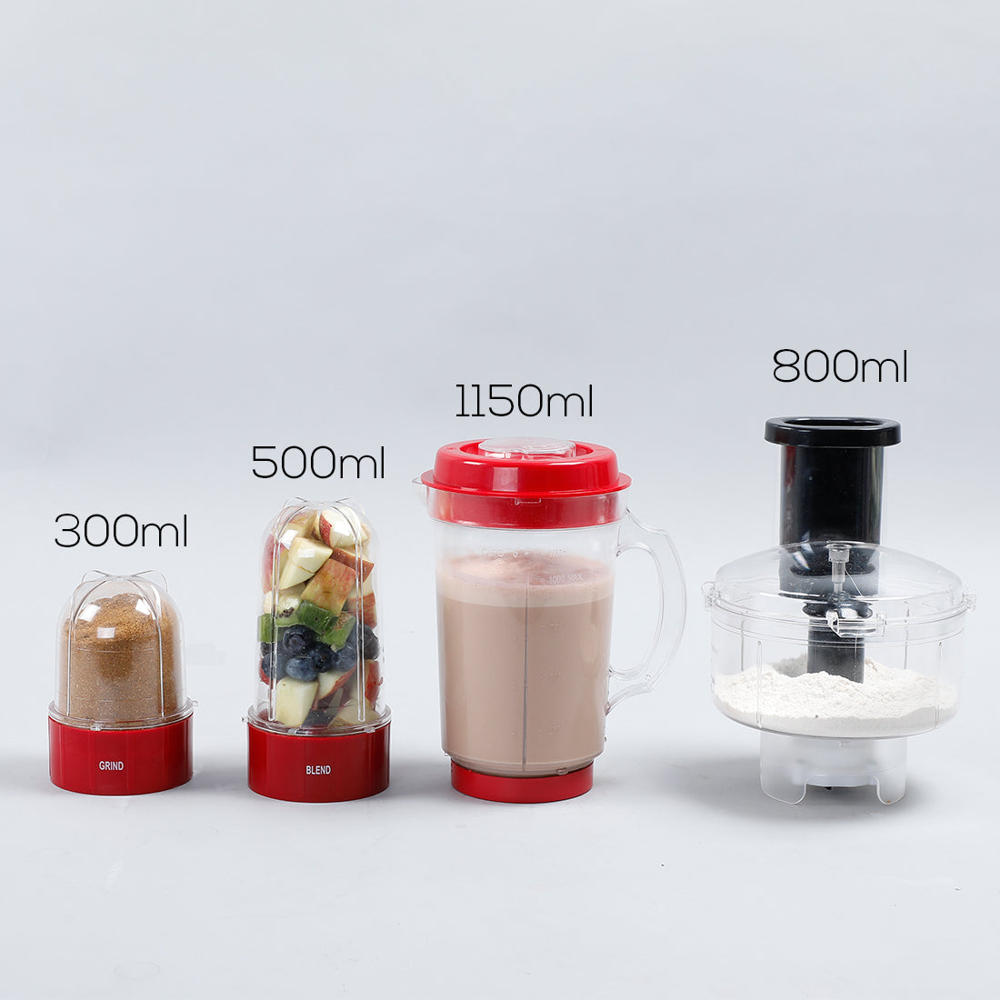 Nutri-blend Compact Food Processor with Atta Kneader, 400W, 22000 RPM Mixer-Grinder, Blender, Chopper, Juicer, SS Blades, 4 Unbreakable Jars, 2 Years Warranty, Red, E-Recipe Book By Chef Sanjeev Kapoor