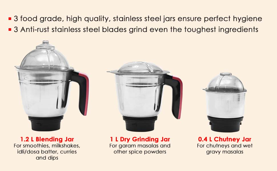 Sumo Mixer Grinder-600W With 3 Stainless Steel Jars and Anti-Rust Stainless Steel Blades, Ergonomic Handles, 5 Years Warranty on Motor, Red and Black