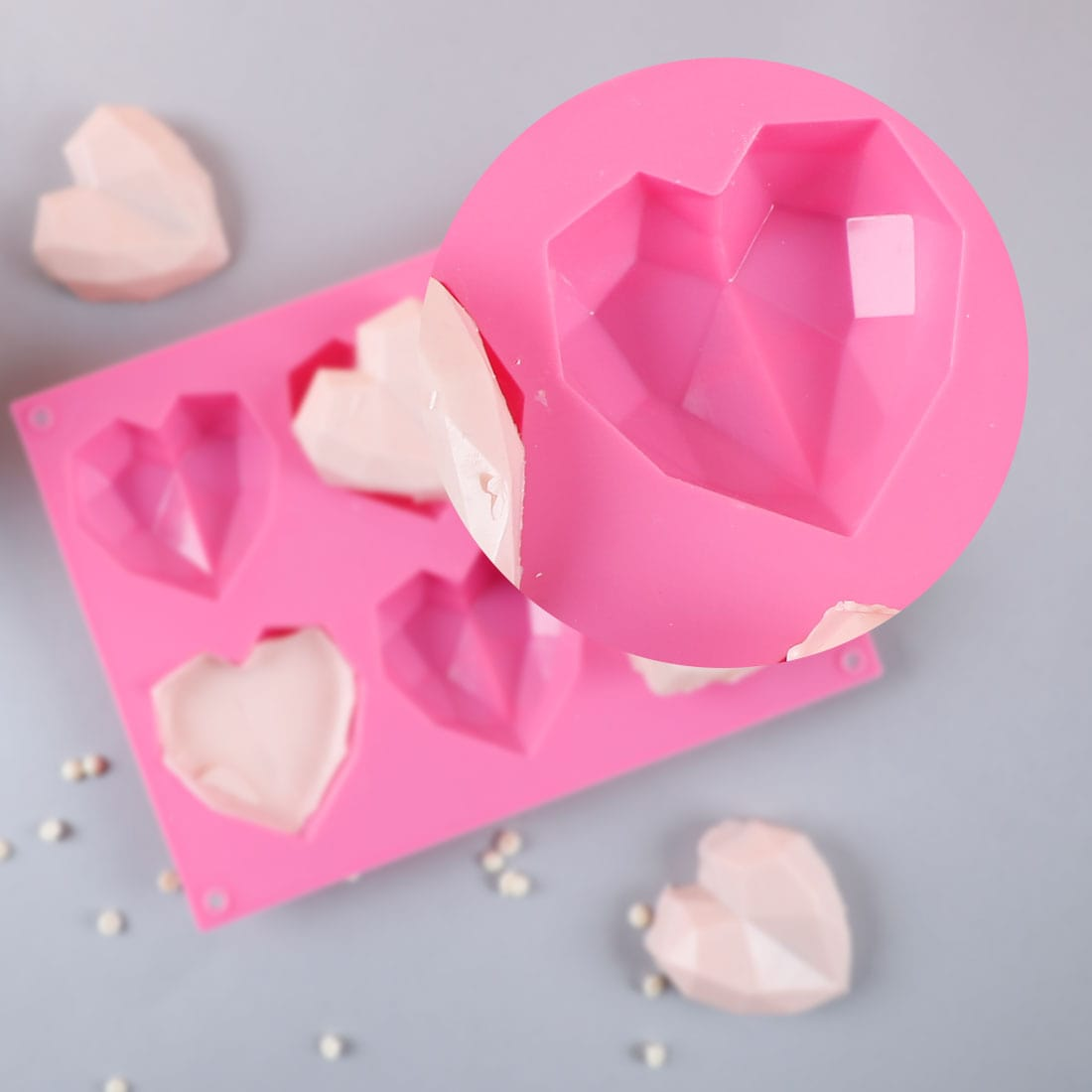 Ambrosia Silicone 3D Heart Shaped Mould - Pink