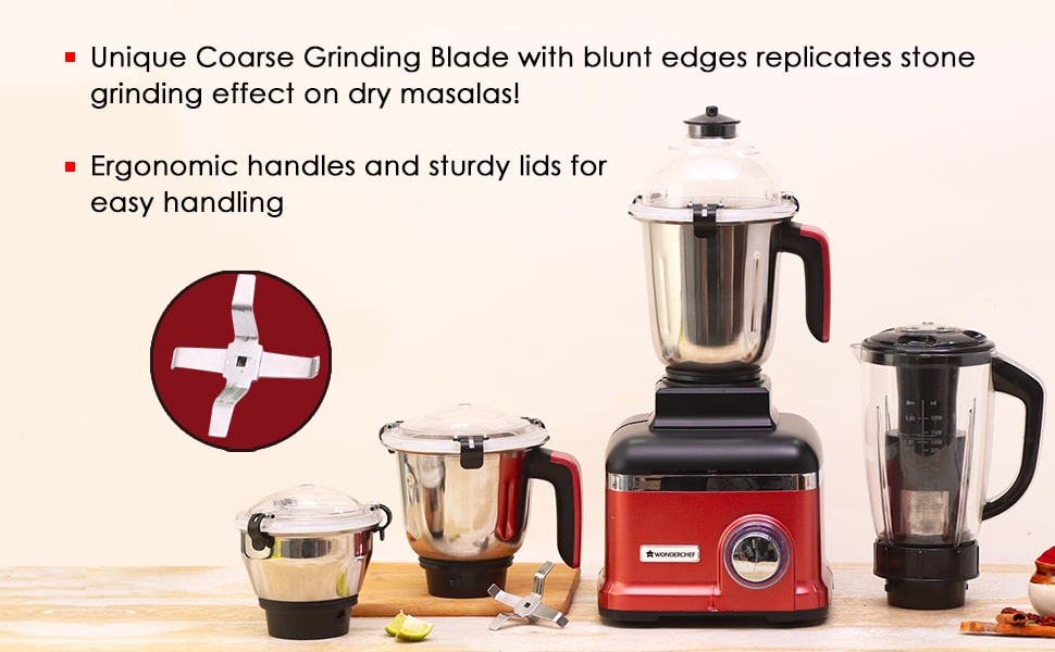 Sumo Mixer Grinder 1000W With 4 Stainless Steel Jars And Anti-Rust Stainless Steel Blades, Ergonomic Handles, 5 Years Warranty On Motor, Red And Black