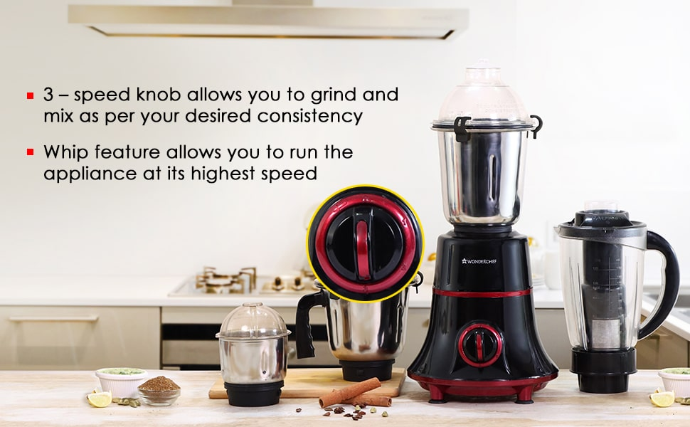 Glory Mixer Grinder,  750 W with 4 Stainless Steel Jars and Anti-rust Stainless Steel Blades, Ergonomic Handles, 5 Years Warranty on Motor