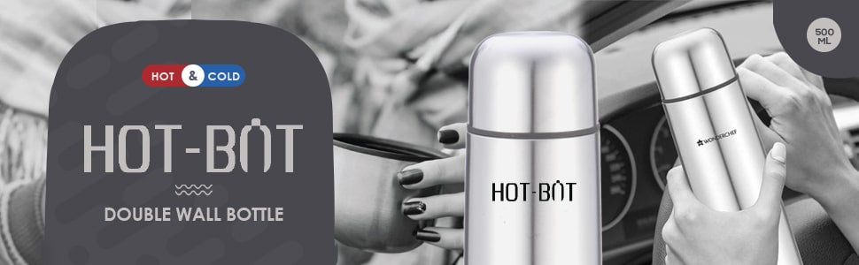 Hot-Bot, 500ml, Double Wall Stainless Steel Vacuum Insulated Hot and Cold Flask with Travel Pouch, Copper Plated Inner Wall, Spill & Leak Proof, 2 Years Warranty