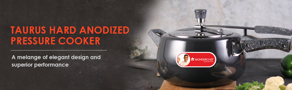 Wonderchef Taurus Induction Base Hard Anodized Pressure Cooker with Inner Lid, 5L, Black