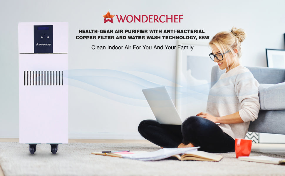 Air Purifier with Anti-bacterial copper filter and water wash technology, 65W