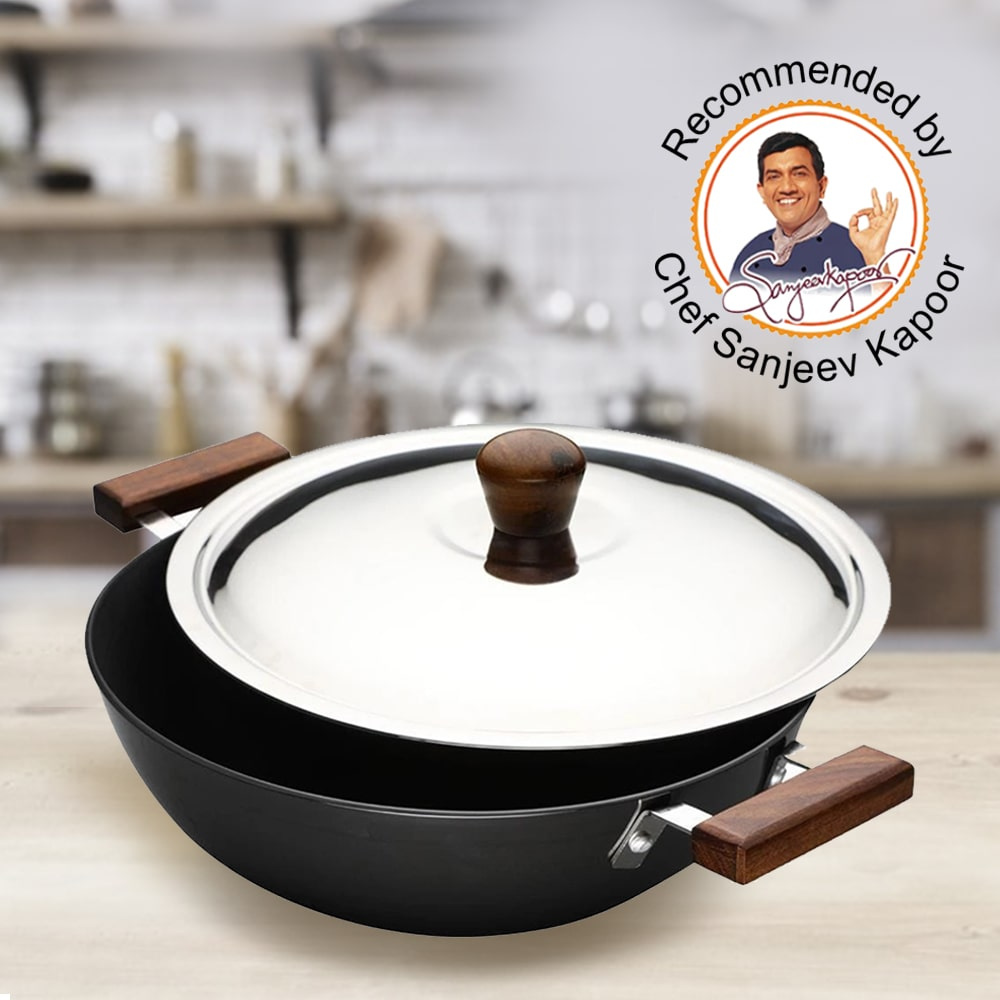 Wonderchef Ebony Hard Anodized Wok With Lid