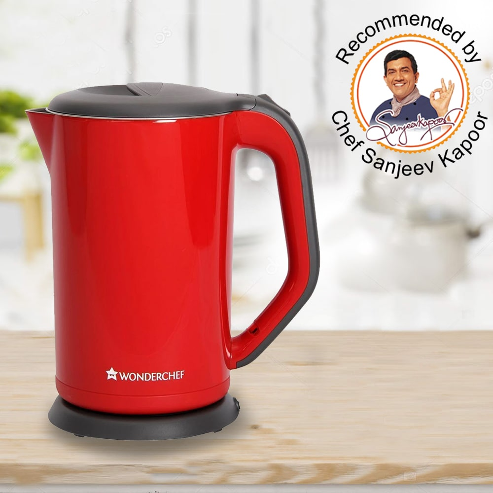 Electric Kettle Crimson Edge, 1.7 Litres, Stainless Steel, With Auto-Shut Off, 2-Level Safety, Cool-Touch, 1 Year Warranty, 1800W, Red