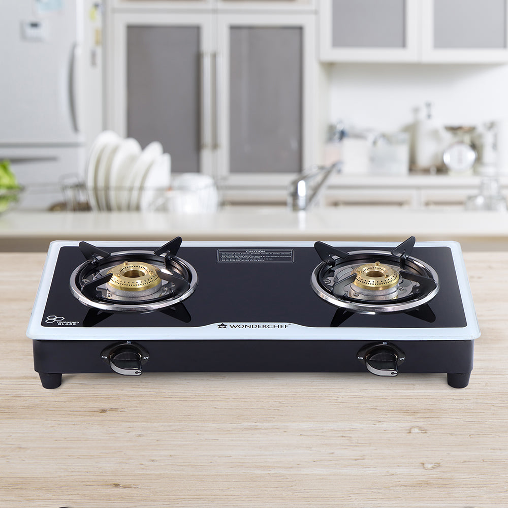 Platinum 2 Burner Glass Cooktop, Black 6mm Toughened Glass with 1 Year Warranty, Ergonomic Knobs, Stainless Steel Drip Tray, Manual Ignition Gas Stove