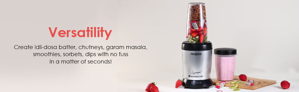 Nutri-blend Thunder, 1000W, 22000 RPM Mixer-Grinder, Blender, Stainless Steel 6-Blade Assembly, 2 Unbreakable Jars, 2 Years Warranty, Silver, Online Recipe Book By Chef Sanjeev Kapoor