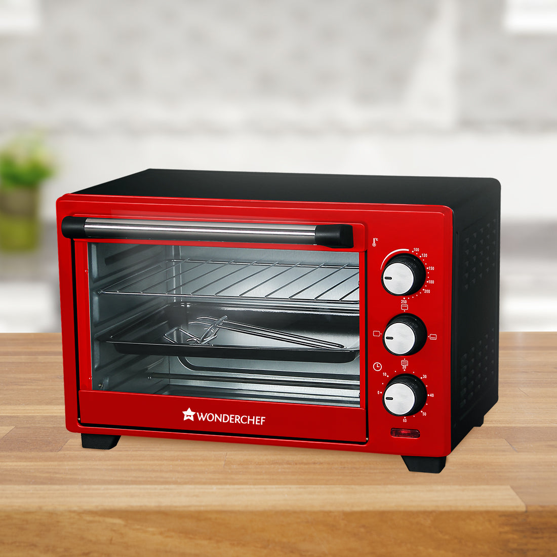 Oven Toaster Griller (OTG) Crimson Edge - 19 Litres - with Auto-shut Off, Heat-resistant Tempered Glass, Multi-stage Heat Selection, 2 Years Warranty, 1280W, Red