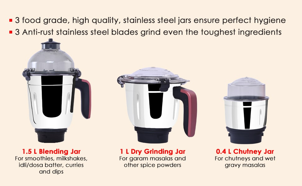 Vietri Mixer Grinder 750W with 3 Thick Steel Jars, Stainless Steel Sharp Blades, Secure Lid, 3 Speed Settings, 5 years Warranty on Motor, Black & Red
