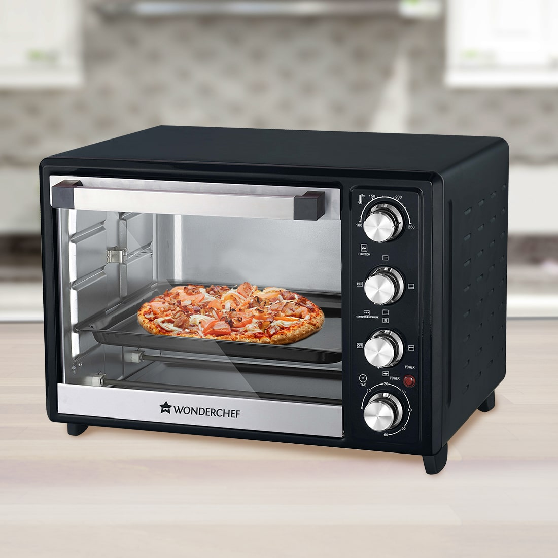 Oven Toaster Griller (OTG) 32 Litres, Stainless Steel With Rotisserie, Auto Power-Off with Bell, Heat Resistant Glass Window