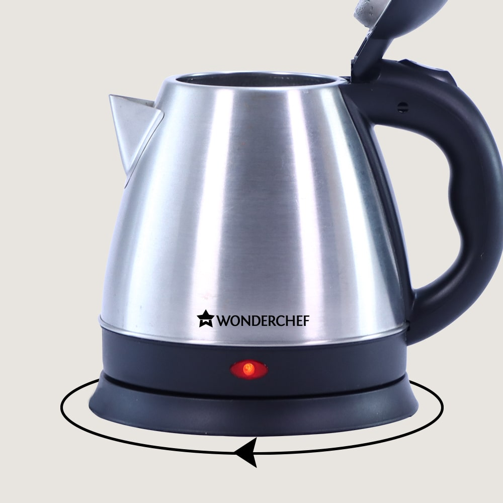 Crescent Electric Kettle, Stainless Steel Interior, Ergonomic Handle, Safety Locking Lid- 1.2L, 1350W, 2 Years Warranty