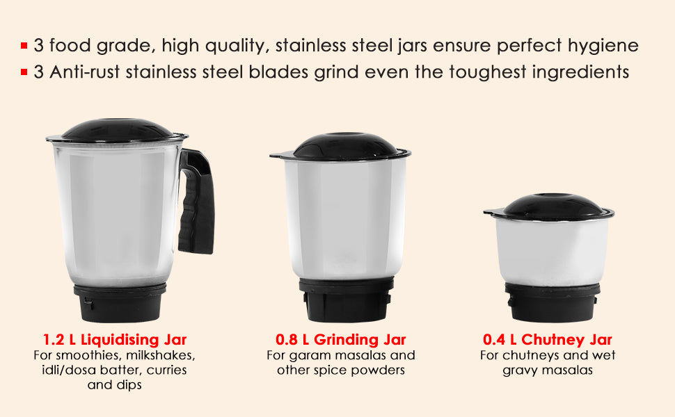 Vietri Mixer Grinder with 3 Anti-rust Stainless Steel Jars and Blades, 3-speed Knob, Anti-skid Feet, 5 Years Warranty on Copper Armature Motor, 550W - Black & Red