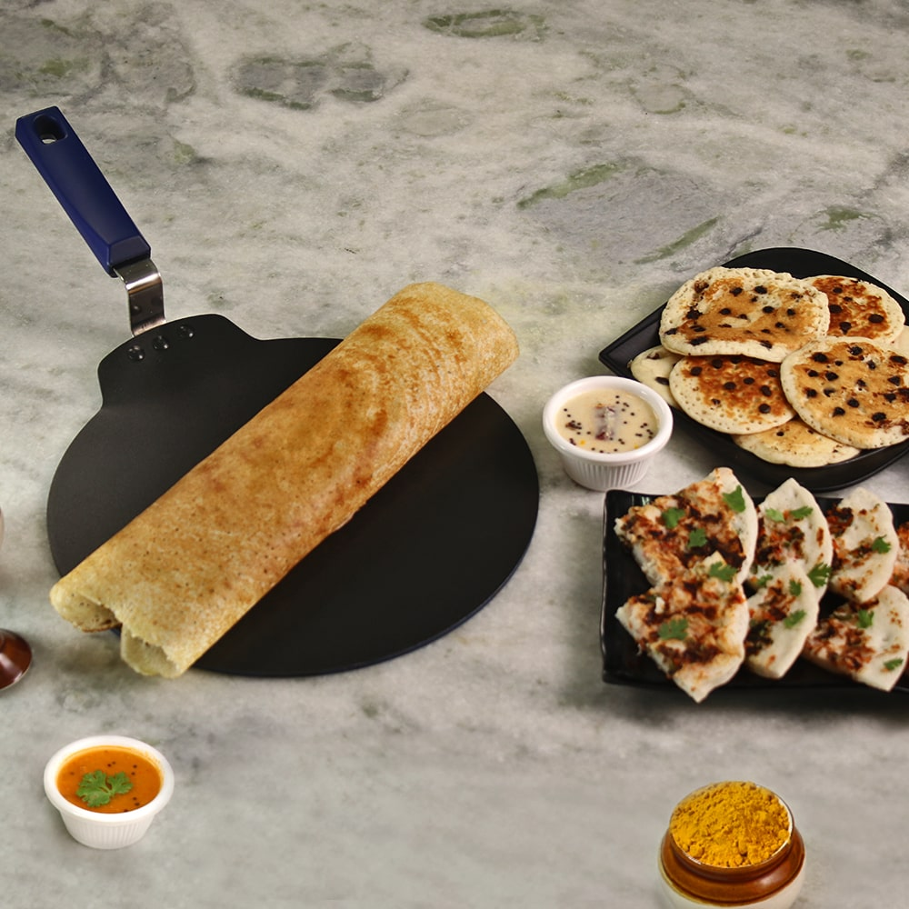 Wonderchef Reva Flat Aluminium Nonstick Dosa Tawa- 28cm, 4mm, Black