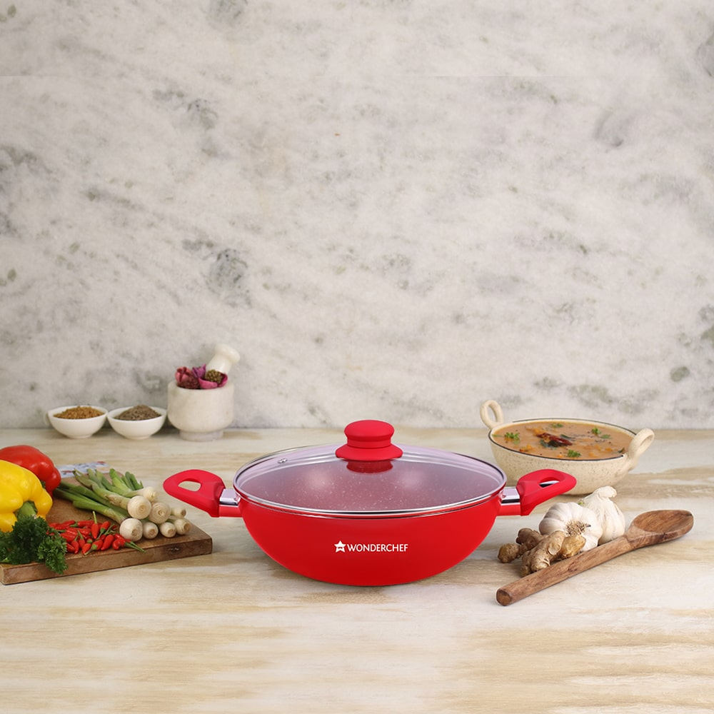 Royal Velvet Aluminium Nonstick Wok with Lid- 24cm, 2.7L, 3mm, Red