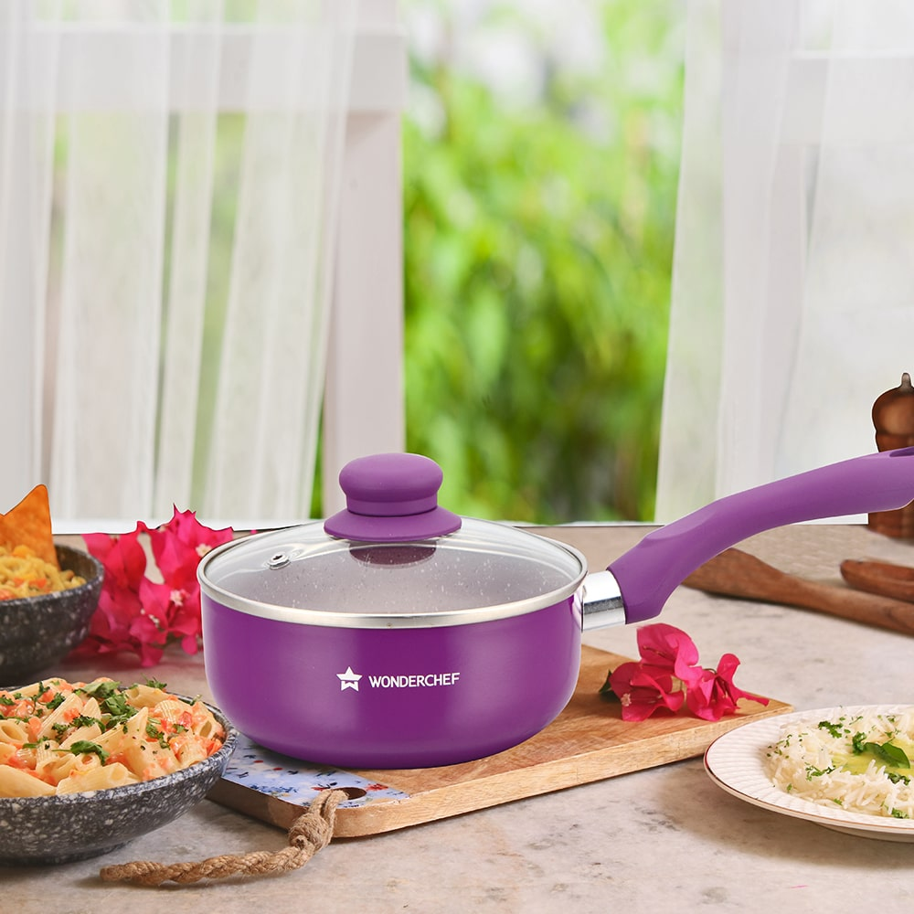 Royal Velvet Aluminium Nonstick Sauce Pan with Lid 3mm, Purple