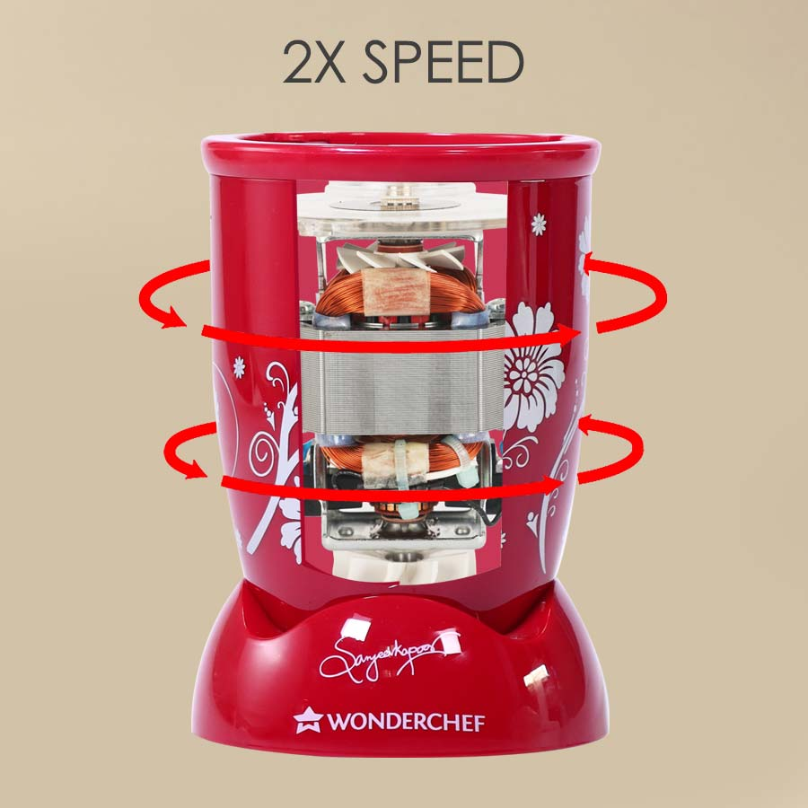 Nutri-blend BOLT-600W CKM Mixer with Chopper, Stronger & Swifter with Sipper Lid, 22000RPM, 4 Unbreakable Jars, Sharper Steel Blades, 2 Years Warranty, Red, E-Recipe Book By Chef Sanjeev Kapoor