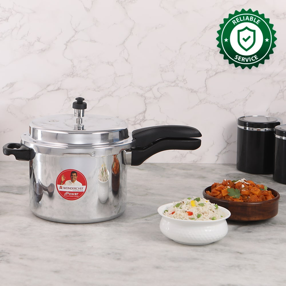 Ruby Induction Base Aluminium Pressure Cooker Combo with Outer Lid, 2, 3, 5L