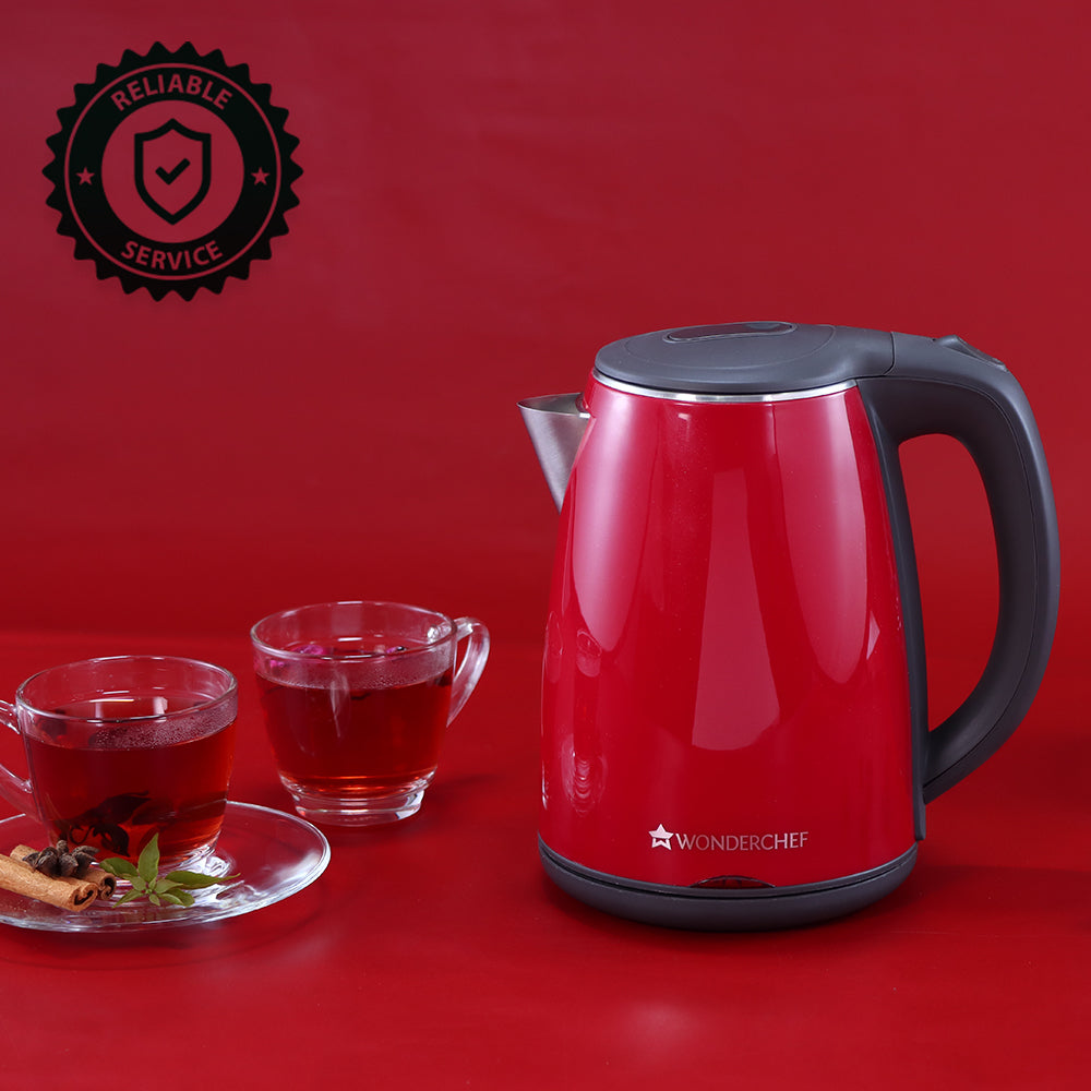 Crimson Edge Stainless Steel 1.2L Electric Kettle, 1500W, Red